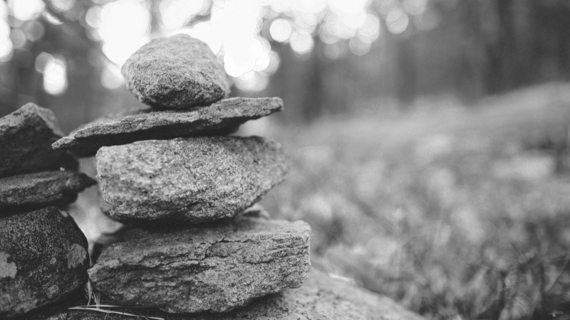 Black and white photo of a cairn