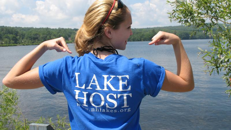 "Lake host volunteer wearing a ""lake host"" shirt"