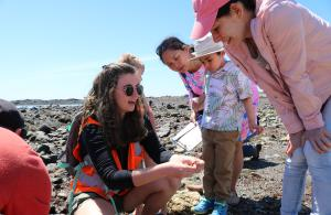 Showing Volunteers a Green Crab