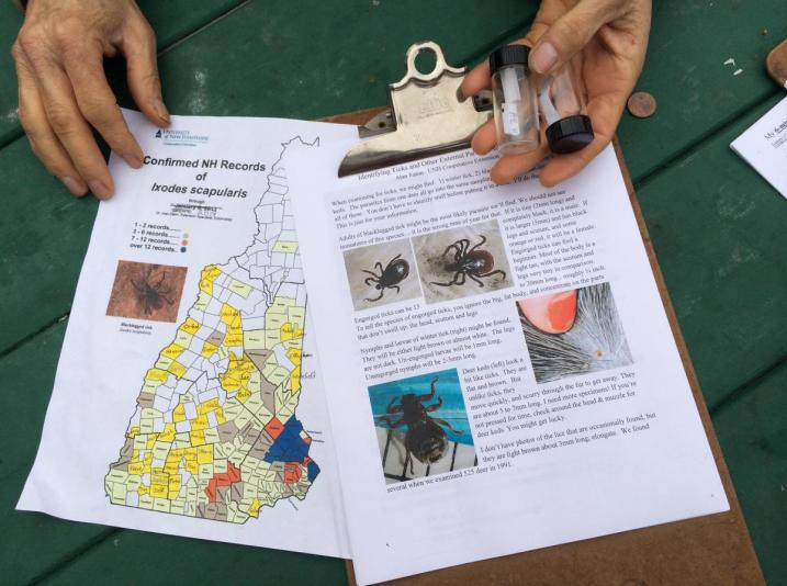 map of blacklegged tick distribution in NH and tick and ked info sheet for hunters.