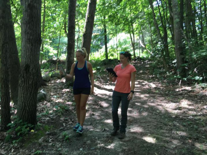 Testing TrailFinder with Amanda Cugno in the woods