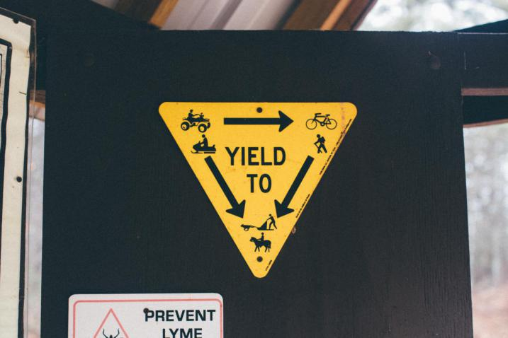 Trail yield sign