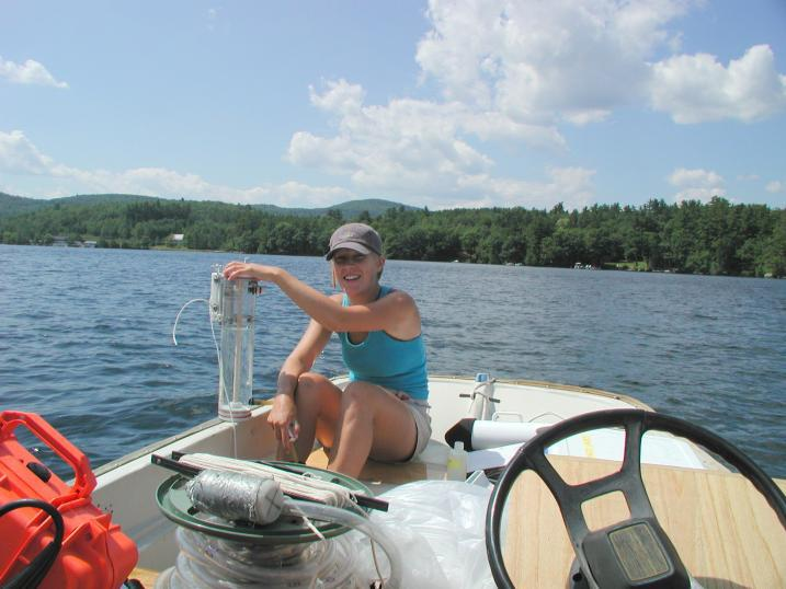 Student collecting water quality samples